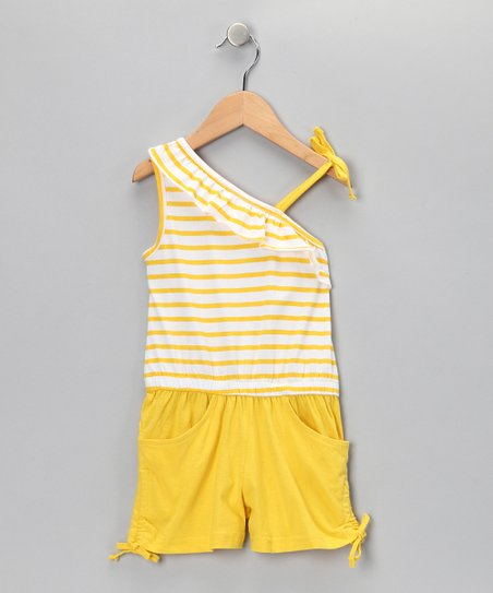Yellow Stripe Asymmetrical Romper - Infant &amp; Girls