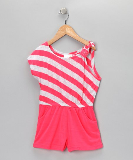 Coral Beauty Stripe One-Sleeve Romper - Infant &amp; Girls