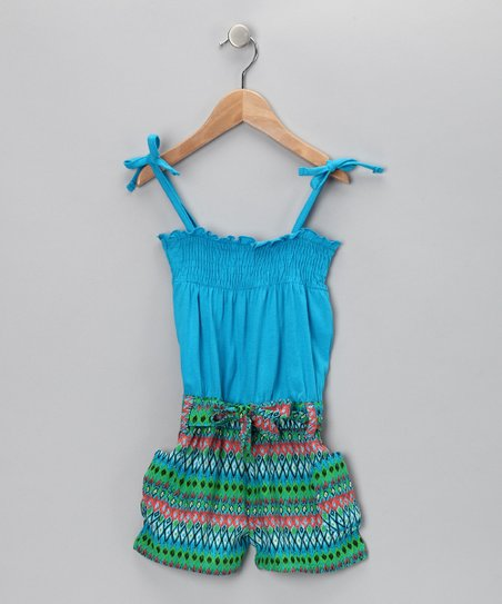 Blue &amp; Green Shirred Romper - Infant &amp; Girls