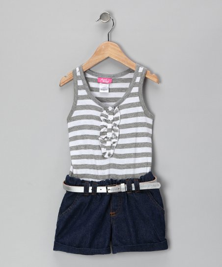 Heather Gray Stripe Denim Romper - Girls