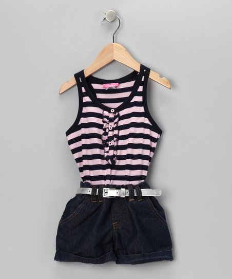 Pink & Navy Stripe Denim Romper - Infant & Girls