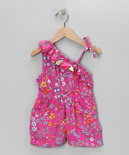 Pink Floral Asymmetrical Romper - Infant, Toddler &amp; Girls