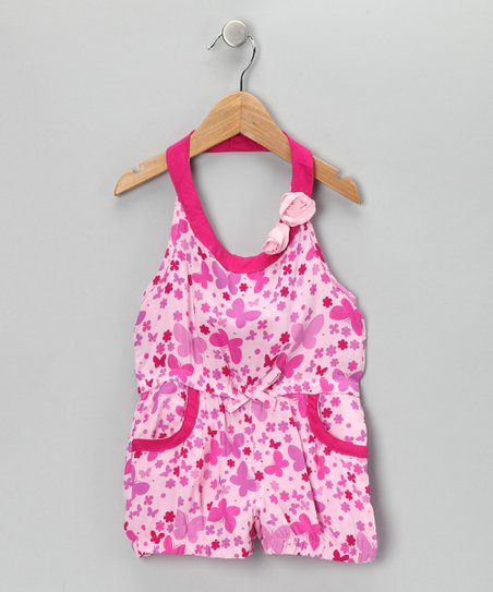 Pink Butterfly Halter Romper - Infant, Toddler & Girls