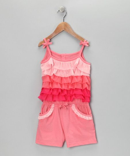 Peach Tiered Romper - Infant &amp; Girls