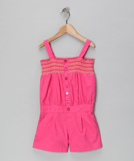 Blush Button-Front Romper - Girls