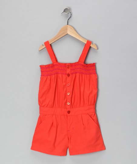 Mango Tango Button-Front Romper - Girls