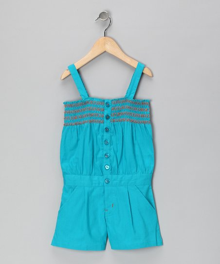 Pacific Blue Button-Front Romper - Girls