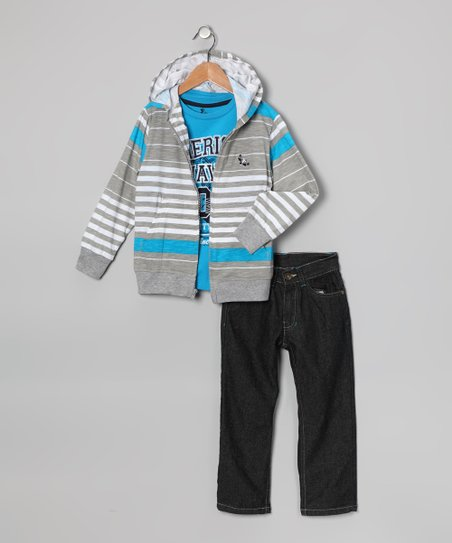 Blue 'American Hawk' Hoodie Set - Boys