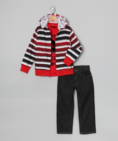 Red &#039;American Hawk&#039; Hoodie Set - Toddler &amp; Boys
