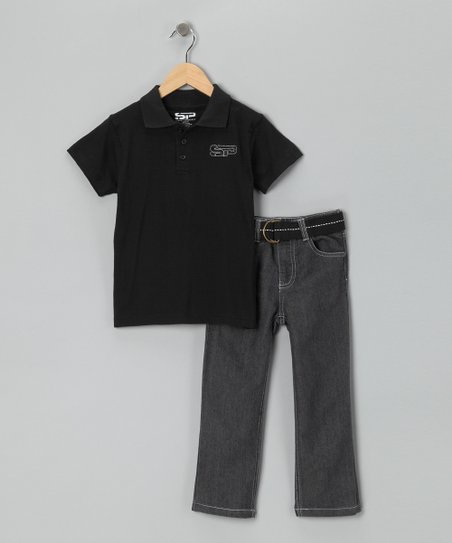 Black Polo &amp; Jeans Set - Toddler