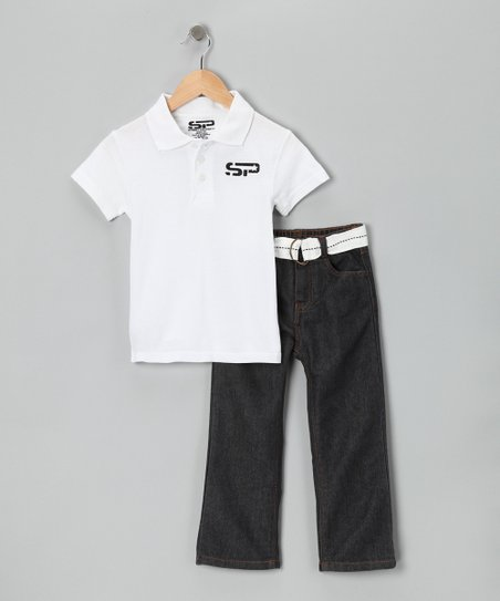 White Polo & Jeans - Toddler