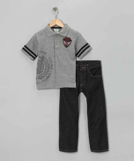 Gray &#039;American Hawk&#039; Polo &amp; Jeans - Infant, Toddler &amp; Boys