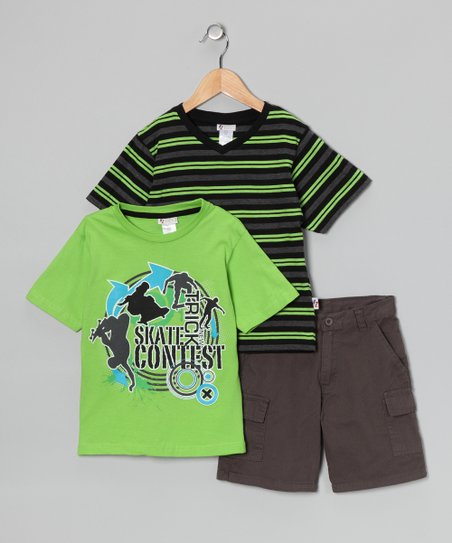 Green 'Trick' Tee Set - Boys