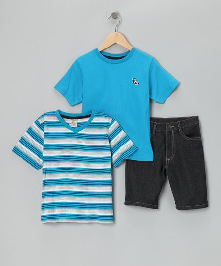 Blue Stripe Tee Set - Boys