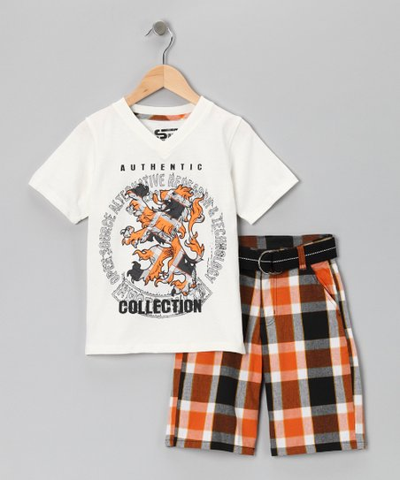White 'Authentic' V-Neck Tee & Shorts - Boys