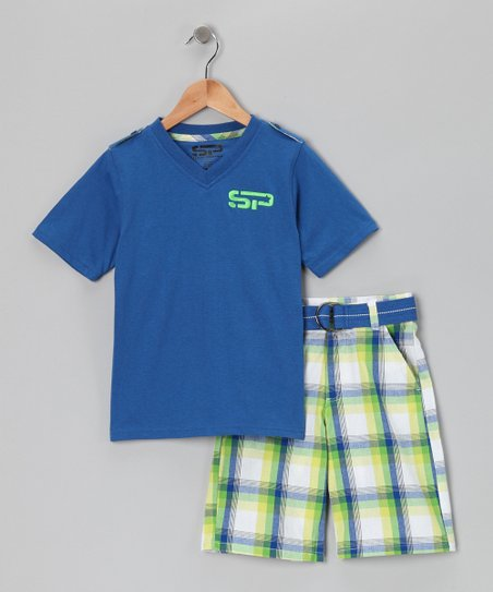 Blue V-Neck Tee & Shorts - Boys