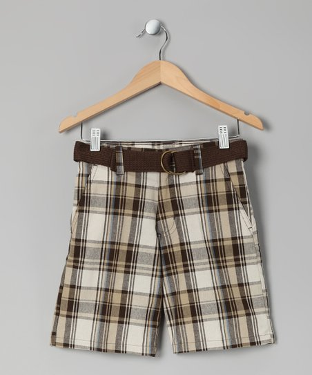 Brown Plaid Makaveli Shorts - Boys