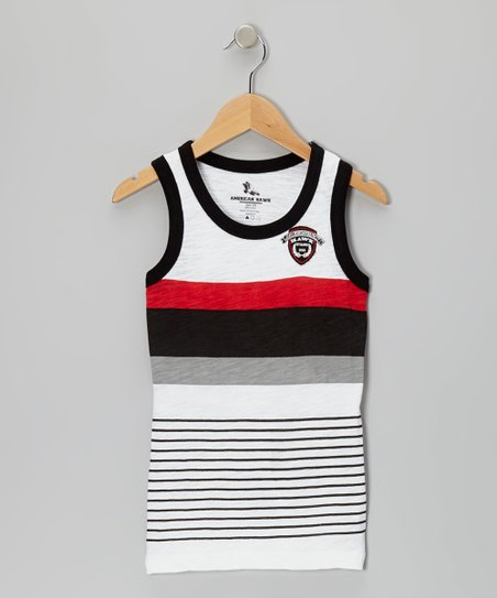 Red & Black Stripe Tank - Boys