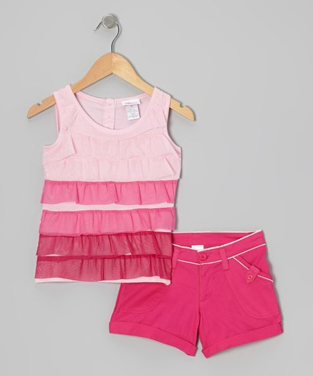 Pink Ombré Ruffle Tank & Shorts - Infant, Toddler & Girls