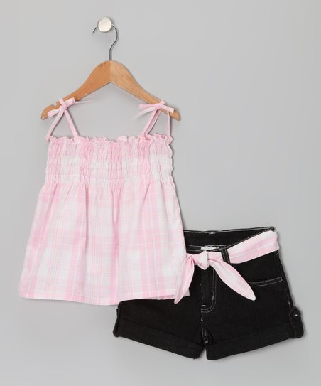Pink Plaid Swing Top & Black Belted Denim Shorts - Girls