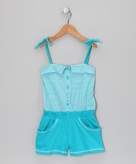 Pacific Blue Stripe Button Romper - Infant