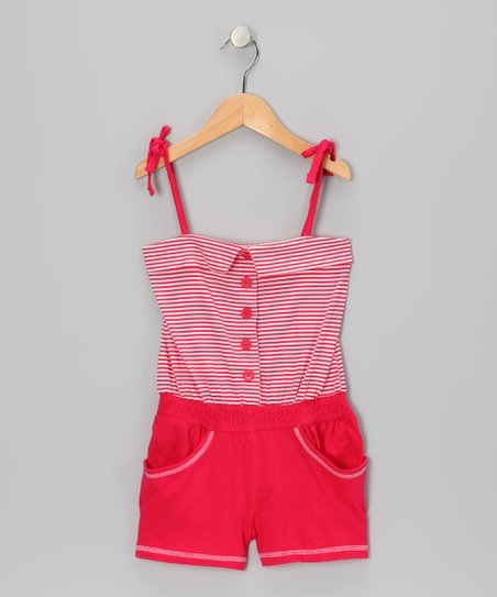 Red Stripe Button Romper - Infant