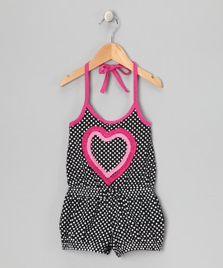 Black Polka Dot Heart Romper - Girls
