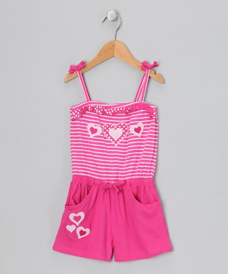 Pink Heart Stripe Romper - Infant & Toddler