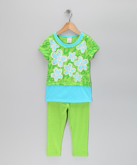 Green Flower Layered Tunic & Leggings - Toddler