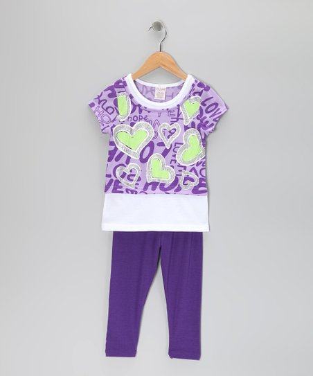 Purple Heart Layered Tunic & Leggings - Toddler