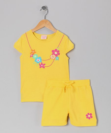 Yellow Faux Necklace Tee & Shorts - Girls