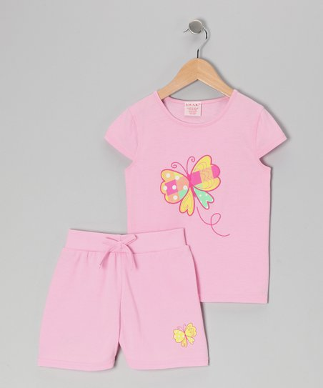 Pink Butterfly Tee & Shorts - Toddler & Girls