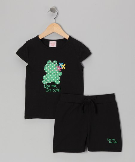 Black Frog 'Kiss Me' Tee & Shorts - Toddler & Girls