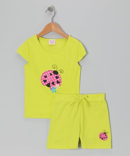 Yellow Ladybug Tee & Shorts - Toddler