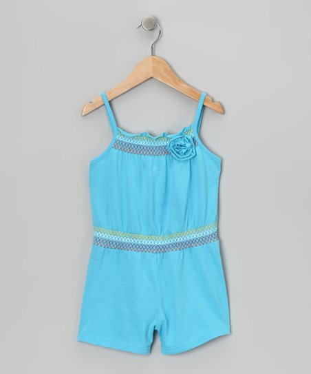 Blue Smocked Romper - Toddler & Girls