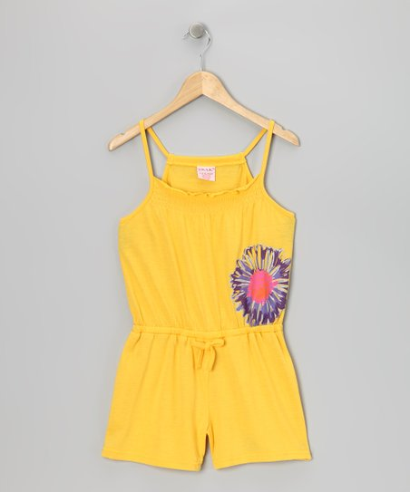 Yellow Flower Romper - Girls