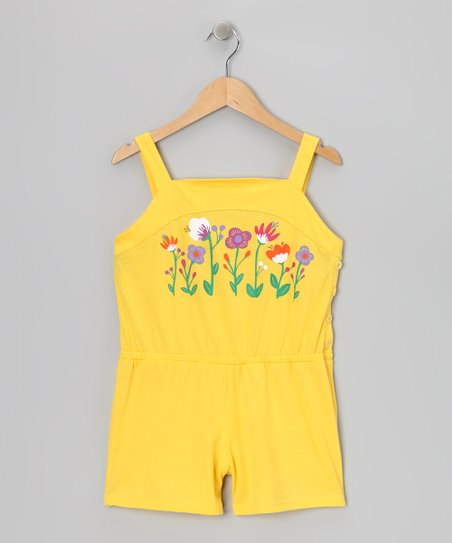 Yellow Garden Romper - Girls