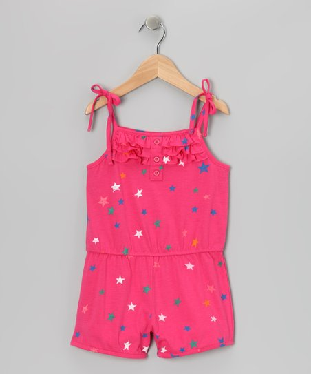 Pink Stars Ruffle Romper - Toddler & Girls