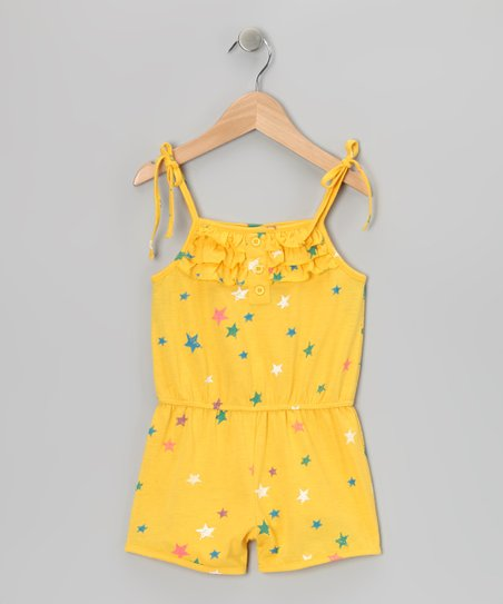 Yellow Stars Ruffle Romper - Girls