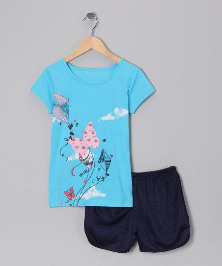 Blue Butterfly Kite Tee & Shorts - Toddler & Girls
