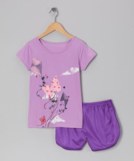 Purple Butterfly Kite Tee & Shorts - Toddler & Girls