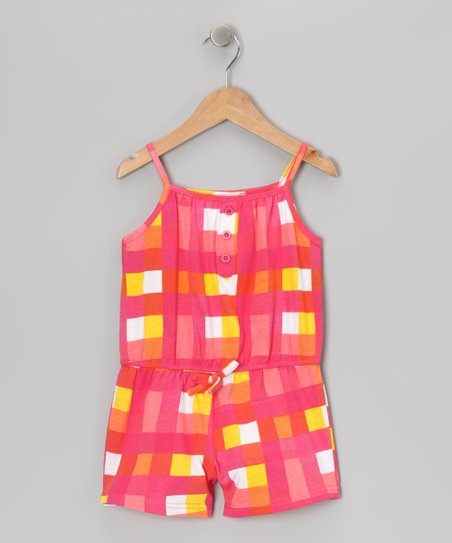 Pink Plaid Romper -Toddler & Girls