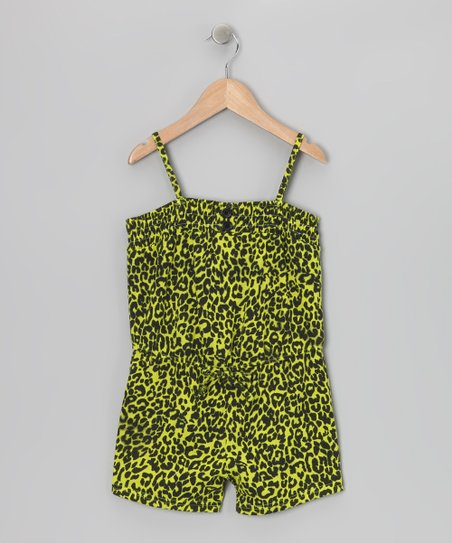 Green Cheetah Romper - Toddler & Girls