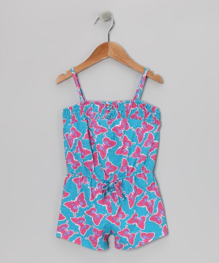 Blue Butterflies Romper - Toddler & Girls