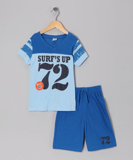 Blue 'Surf's Up' Tee & Shorts - Toddler & Boys