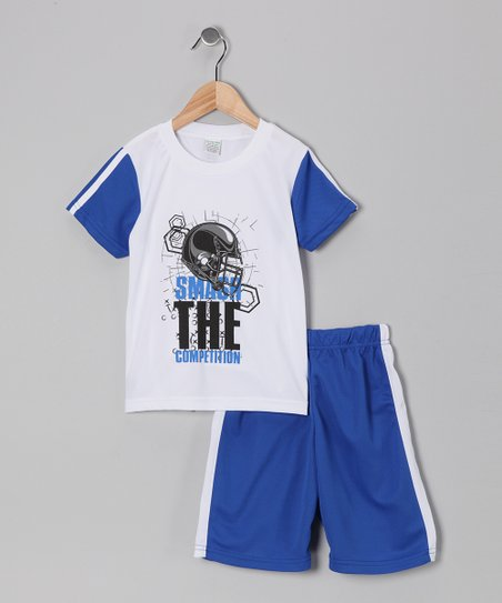 White & Blue 'Smash' Football Tee & Shorts - Boys