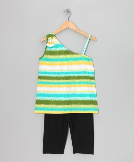 Green Stripe Tank & Bike Shorts - Girls