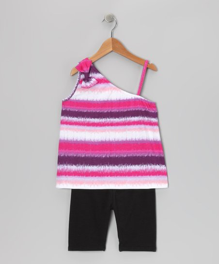 Pink Stripe Tank &amp; Bike Shorts - Girls