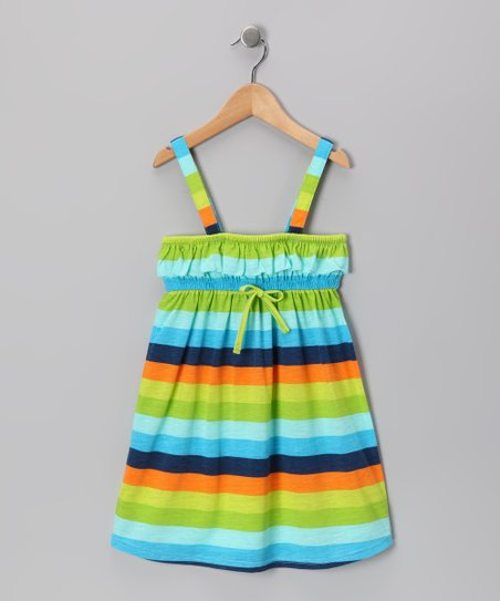 Blue &amp; Green Stripe Dress - Girls