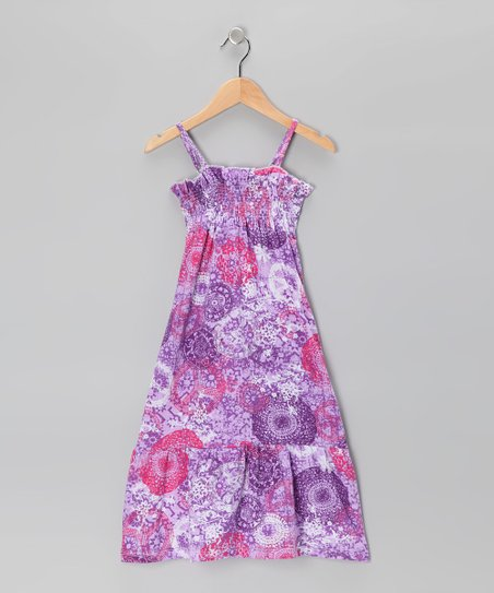 Purple Peace Sign Dress - Girls